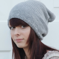 Knitted Mid Grey Oversized Slouchy Beanie Hat