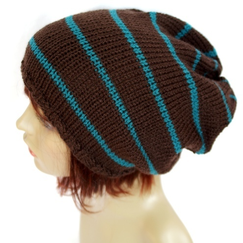 Knitted Brown and Teal Slouchy Tam  Beanie Hat