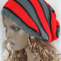 Knitted Oversized  Stripey Slouchy Beanie Hat in RedDark Grey and Black