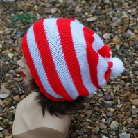 Knitted Red and White Stripey  Oversized Slouchy Beanie Hat