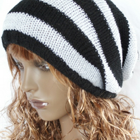 Hand Knitted Black and White Slouchy Beanie Hat
