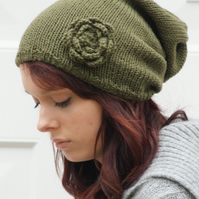 Bella Knitted Khaki Slouchie Beanie Hat with Flower