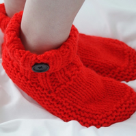 Bright Red Chunky Slipper Boot Bedsock
