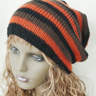 Hand knitted oversized slouchy beanie hat
