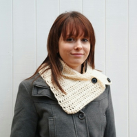 Cream Crocheted Neckwarmer Cowl