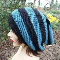 Hand Knitted Slouchy Beanie, Tam Hat, Slouch Knit Hat, Unisex Hat