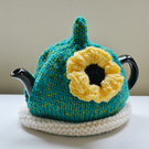 1-2 Cup Yellow Poppy Hand Knitted Tea Cozy
