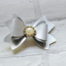 Silver and Grey Double Tailed Leatherette Bow Hair Accessory