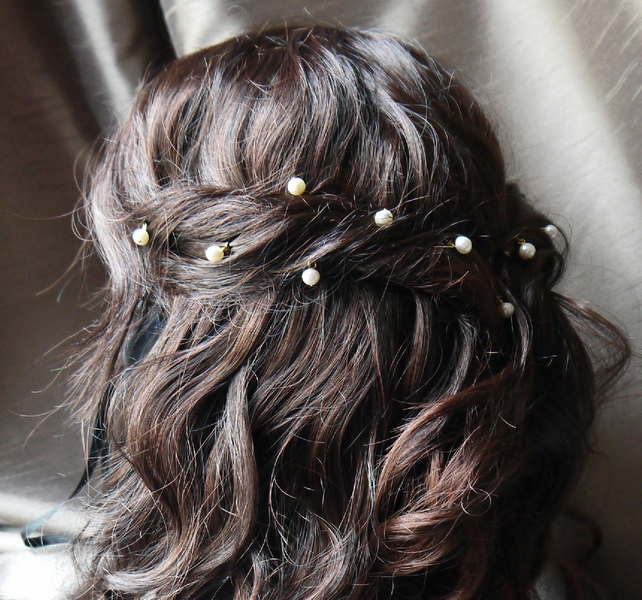 ... ivory white round pearl hair grips pins for wedding or prom gold