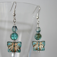 Aqua Butterfly Earrings