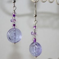Lilac Swirl Bead Earrings