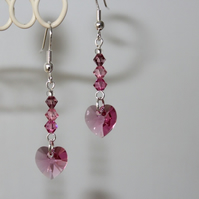 Shades of Pink crystal earrings