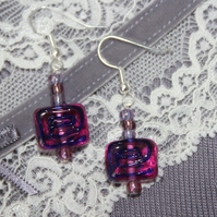 Fuchsia spiral earrings