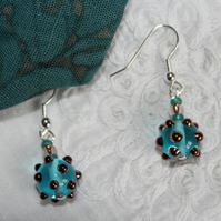 Blue bubble earrings