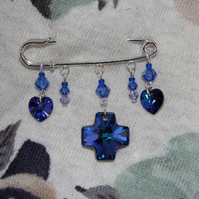 Purple and blue crystal brooch