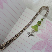 Beaded metal bookmark