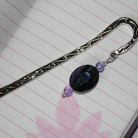 Purple beaded metal bookmark