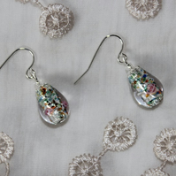 Glass flower and foil bead earrings