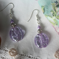 Lavender Glass Bead Earrings