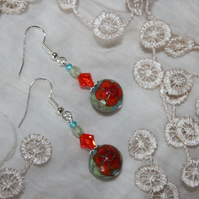 Cloisonné earrings in autumn colours