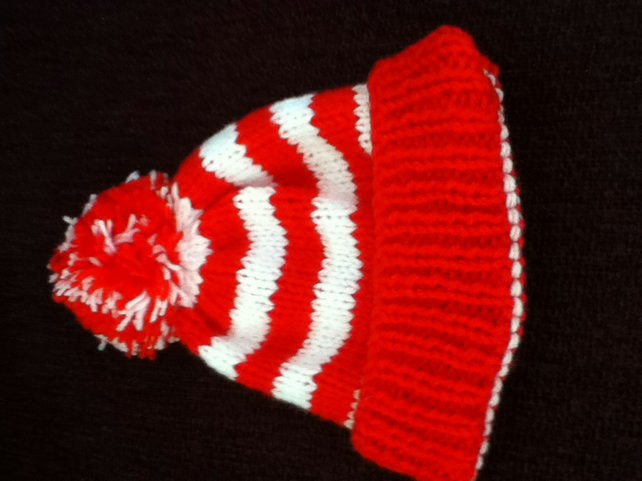 Red And White Bobble Hat Folksy