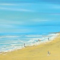 Sea Side Scene Oil on Box Canvas 'At The Beach'