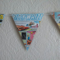 Laminated comic book bunting for children's bedroom or parties.