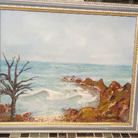 Guernsey Scenes Winter Coastline Impression Oil Painting