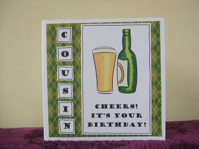 Wedding Gift Ideas For Male Cousin : Beer lager bottle birthday card cousin male - Folksy