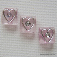 Candy pink bling love heart squares with bling - Destash