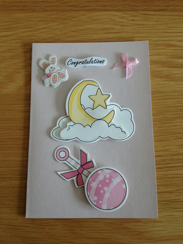 Handmade Newborn Baby Girl Card Sale Item Folksy