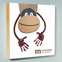 Personalised handprint canvas - Monkey - 12 by 12 inches