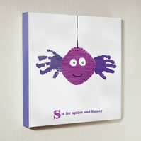 Personalised handprint canvas - Spider - 12 by 12 inches