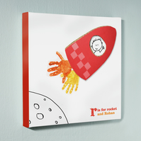 Personalised handprint canvas - Rocket - 12 by 12 inches