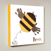 Personalised handprint canvas - Bumble bee - 12 by 12 inches