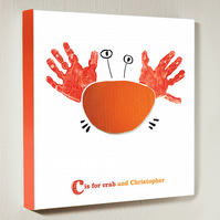 Personalised handprint canvas - Crab - 12 by 12 inches