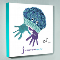 Personalised handprint canvas - Jellyfish - 12 by 12 inches