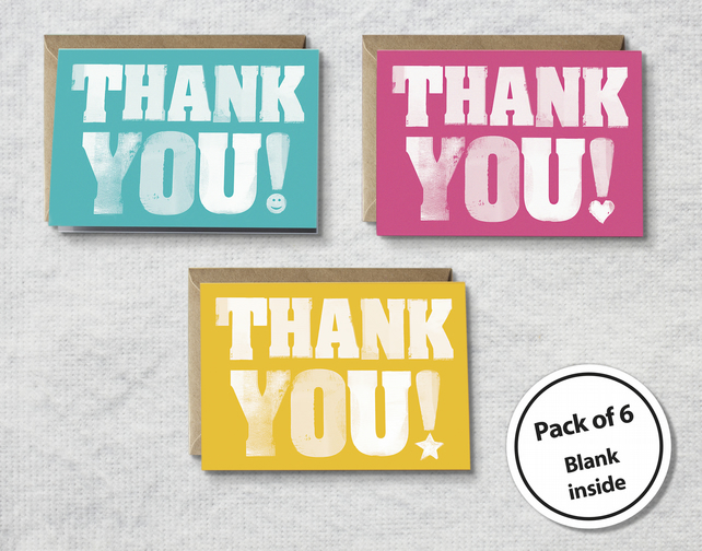 Thank you cards, set of thank you cards, thank you notelets, card for teacher