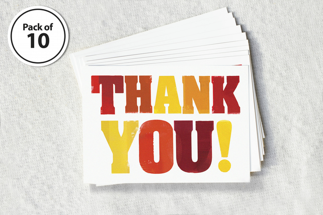 Thank you postcards - pack of 10, notelets, thank you teacher, typographic card
