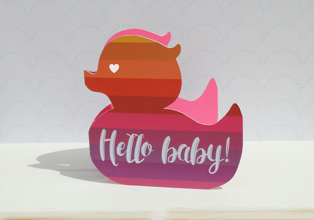 New baby card for a girl - rubber duck, Newborn card pink, cute baby card