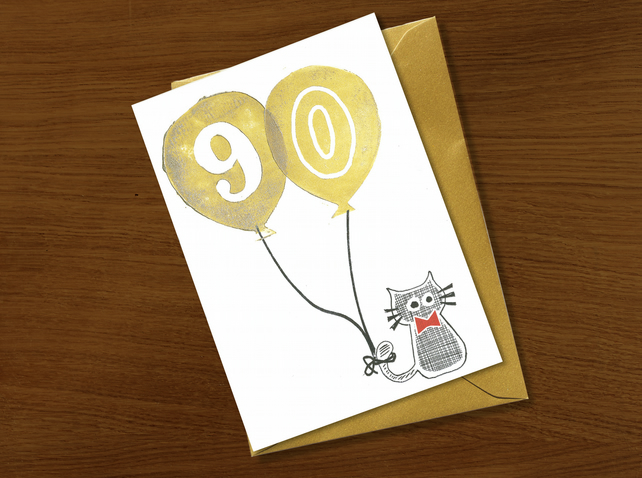 90th birthday card, ninety birthday card, cat and dog lovers, sausage dog