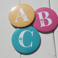 Initial pocket mirror, alphabet pocket mirror, personalised mirror