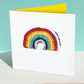 Rainbow birthday card, knitted rainbow card, bright modern birthday card