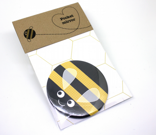 Bumble bee pocket mirror, child's pocket mirror, stocking fillers or small gift