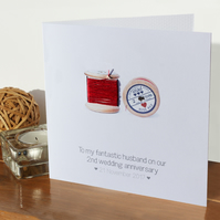 2nd wedding anniversary card - Cotton - Personalised