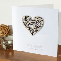 5th wedding anniversary card - Wooden heart - Personalised