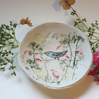 Ceramic hand made bowl Botanical Folk Bird