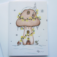 Fairy Toadstool fine art greeting card with envelope