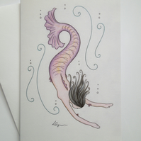 Mermaid fine art greeting card with envelope