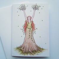 Goddess of the Forest fine art greeting card with envelope